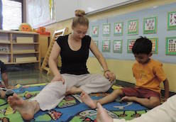 Samantha Caras teaching yoga at AKA Hyderabad