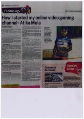 Year 6 Atika Mula discusses his video gaming channel on YouTube with the Daily Nation.